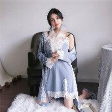 2pcs sets Women Night Gown Set Kimono Nightwear Lounge Set Women Nighty  Sexy 1531(China 42bcba1ec