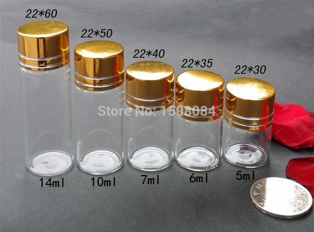 22mmDia Aluminium Screw Golden Cap Empty Transparent Clear Gift Container Wishing Bottle Jars Wholesale 5ml 6ml 7ml 10ml 14ml 4pcs set hand tap hex shank hss screw spiral point thread metric plug drill bits m3 m4 m5 m6 hand tools