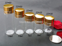 22mmDia Aluminium Screw Golden Cap Empty Transparent Clear Gift Container Wishing Bottle Jars Wholesale 5ml 6ml 7ml 10ml 14ml