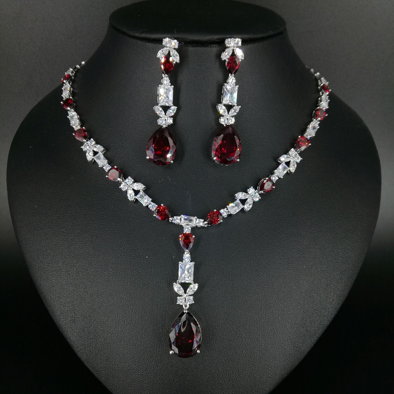 2018 new fashion popular red water drop necklace earring jewelry set wedding bride dressing banquet formal jewelry free shipping mac prep prime beauty balm основа под макияж spf35 extra light