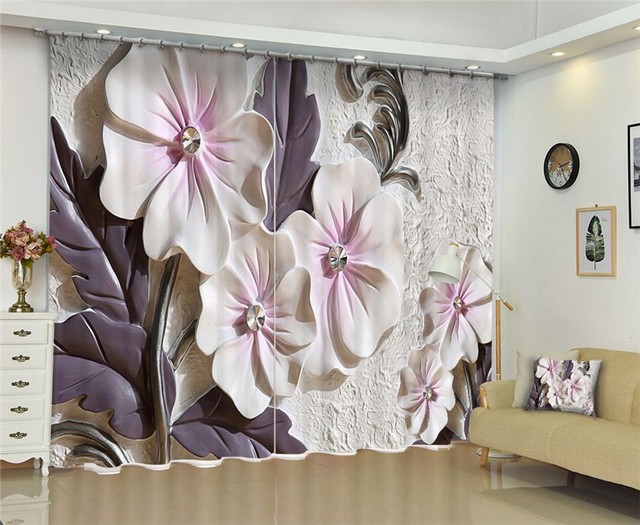 Luxury 3D Curtains with pearls