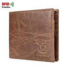 Bullcaptain RFID Antimagnetic Genuine Leather 10 Card Slots Driver License Wallet  Casual Vintage Card Pack Purse For Men цена и фото