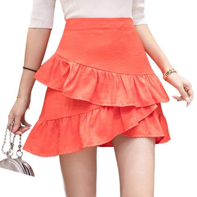 628917f3 US $17.47 |Koreański Styl Elegancki Jupiter Femme Solidna Ruffles Spódnica  Wysokiej Talii Spódnica Mini Kobiety Lato Spódnice 2018 Saias Czarny ...