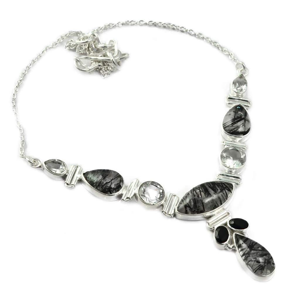 Genunie noir Rutile + topaze blanche collier 925 argent Sterling, 41.5 cm, MHBNE0165