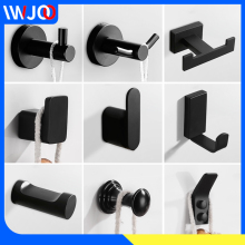Double Robe Hook Black Stainless Steel Bathroom Hook for Towels Bag Hat Wall Mounted Clothes Coat Hook Hanger Rack Bath Hardware robe hook black clothes coat hook wall hanger decorative deer head bathroom hook for towels key bag hat rack bathroom hardware