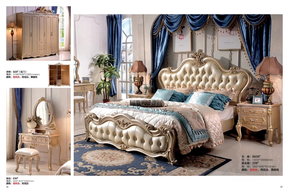 high quality Fashion European French Carved leather bed bedroom furniture 1.8 m zy002high quality Fashion European French Carved leather bed bedroom furniture 1.8 m zy002