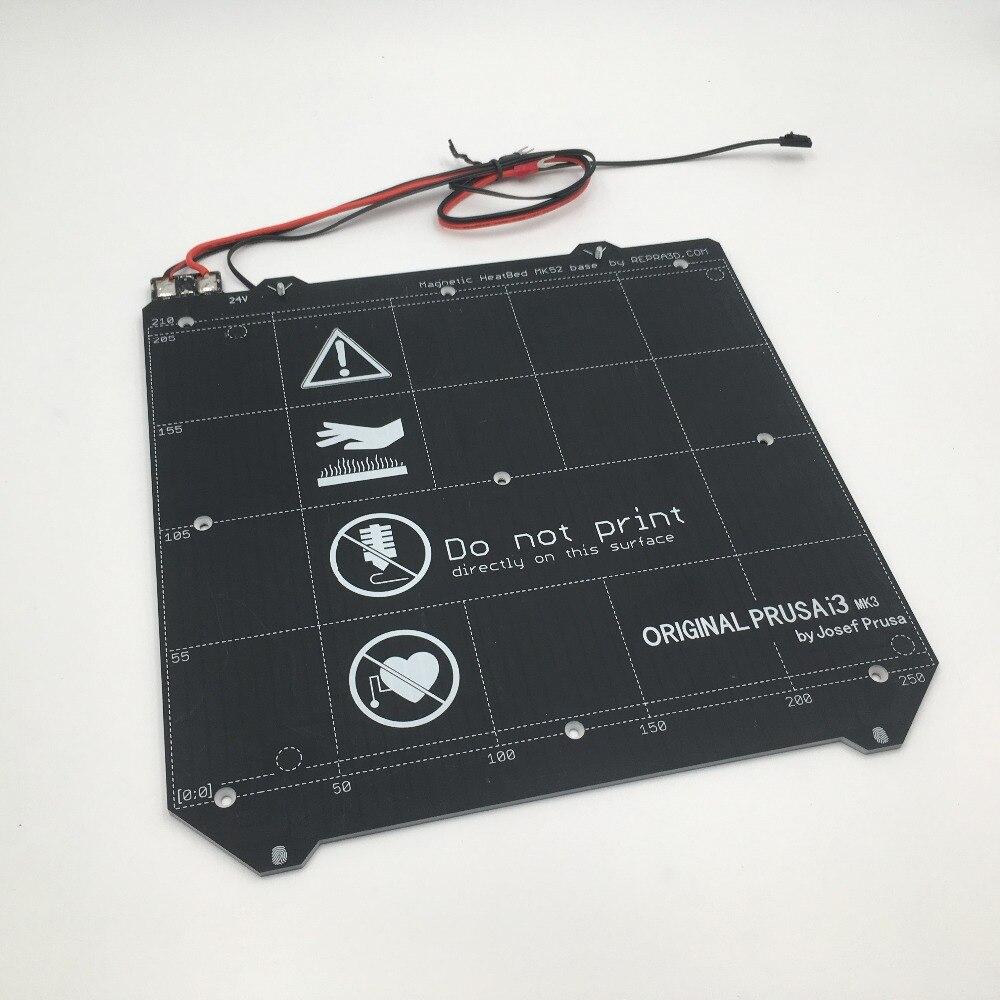 Clonado MK3 Prusa i3 3d impressora de cama aquecida Magnético MK52 Heatbed 24V montagem