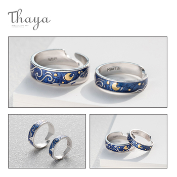Stars & Moon Silver Couple Rings 4