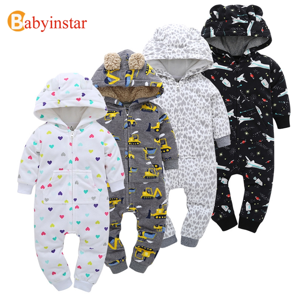 Babyinstar Autumn Winter Warm Baby Romper Cartoon Pattern Long Sleeve Fleece One-Pieces Baby Clothing Boys Girls Jumpsuits 2016 winter new soft bottom solid color baby shoes for little boys and girls plus velvet warm baby toddler shoes free shipping