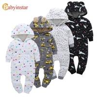 Babyinstar Autumn Winter Warm Baby Romper Cartoon Pattern Long Sleeve Fleece One Pieces Baby Clothing Boys