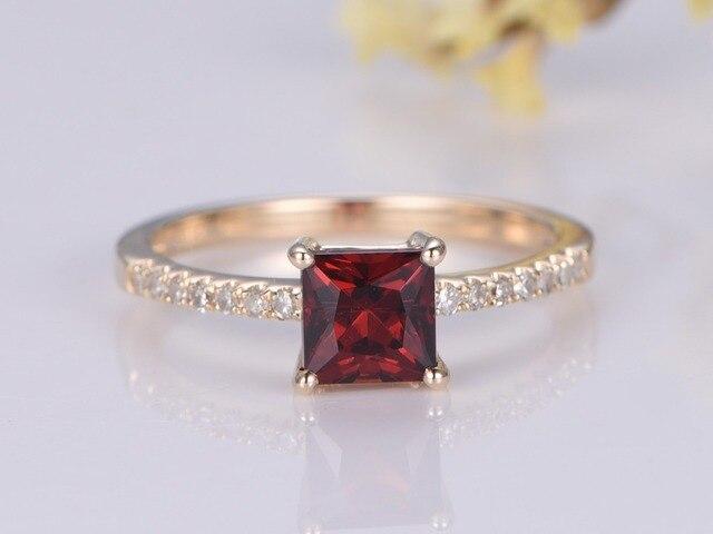 6e5228de4aca Granate anillo de compromiso 5mm Príncipe piedra corte 14 K oro ...