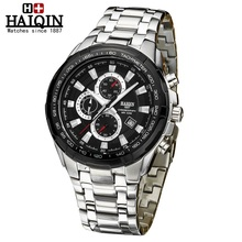 NEW HAIQIN Waterproof Luminous Stainless Steel Chronograph Top Brand Luxury 2017 Men's Quartz Watch Wrist Watches For Men