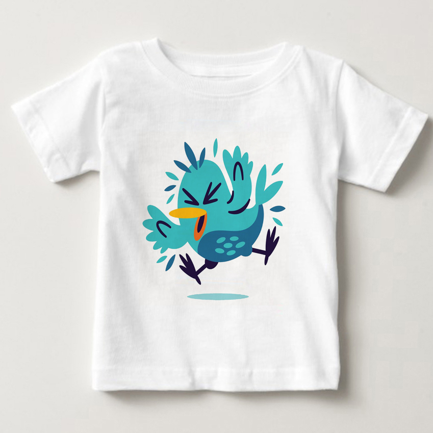kids short T-shirts lovely bird sleeve girls summer T-shirt Funny childrens colors fashion children t shirts