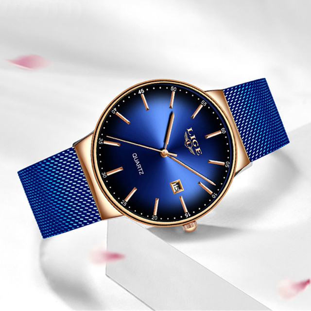 Jam Tangan Analog Wanita LIGE New Luxury Simple Blue Mesh Quartz Watch *33010709359