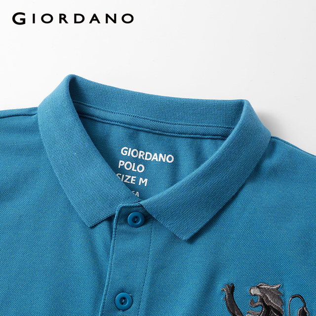 Giordano Men Polo Shirt Men Embroidered 3D Lion