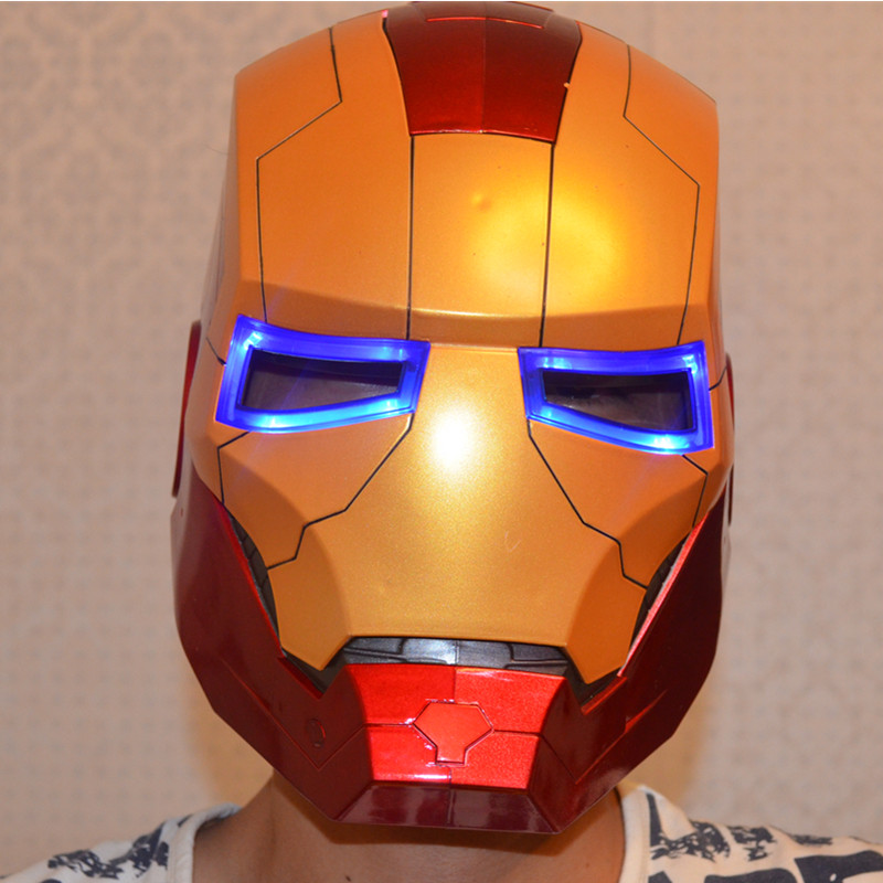 1:1 Iron Man Motorcycle Helmet Mask Tony Stark Mark 7 Cosplay 1/1 Mask with LED Light Collection Model For Adult and Teen mask avengers iron man helmet wearable computer tony stark cosplay mask with led light war damage version for children model toy
