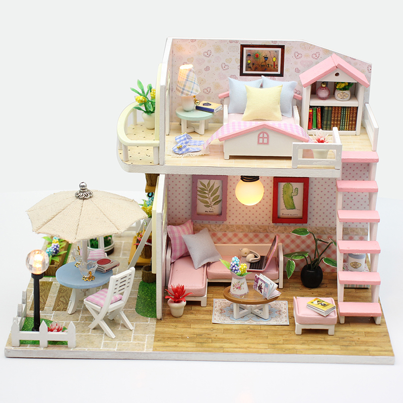 New Doll House Toy Miniature Wooden Doll House Loft With: Aliexpress.com : Buy New Furniture DIY Doll House Wooden