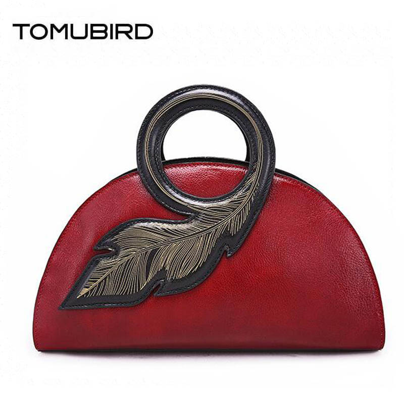 TOMUBIRD 2017 new superior Cowhide Hand Fashion art bag luxury handbags women bags designer women bag genuine leather handbags qiaobao women general genuine leather handbags tide europe fashion first layer of cowhide women bag hand diagonal cross package