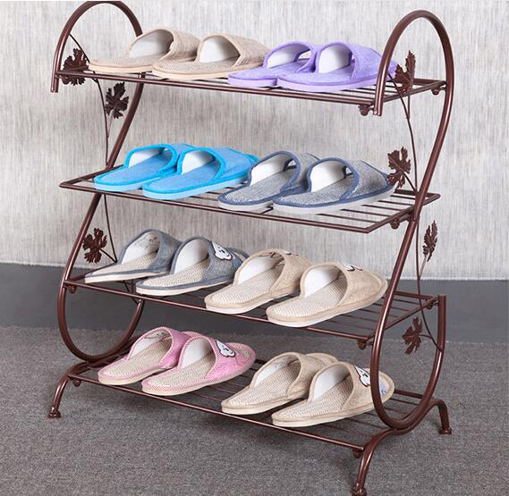 Four Layer Iron Shoe Rack Living Room Storage Shelf Retro Storage Holder szs hot 26 pairs over door hanging stand shoe rack shelf storage organiser pocket holder black