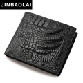 JINBAOLAI Brand Genuine Cowhide Leather Men Wallets Coin Pocket Zipper Men's Leather Wallet with Coin Purse bag billetera hombre