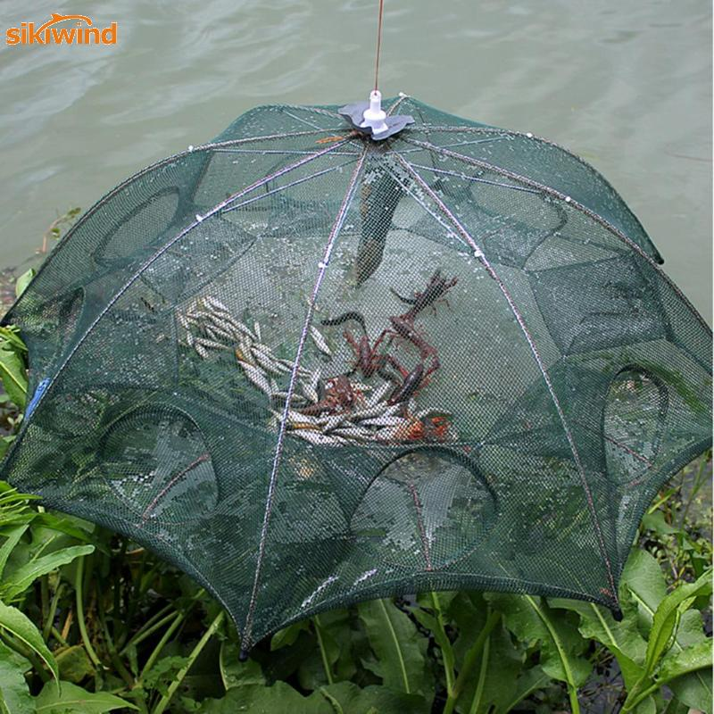 2018 New Fishing Net 4/6/8/12/16 Hole Folding Portable Automatic Fishing Shrimp Trap Fish Minnow Crab Baits Cast Mesh Trap portable foldable fishing trap cast net 8 import 70x30cm crab eel lobster