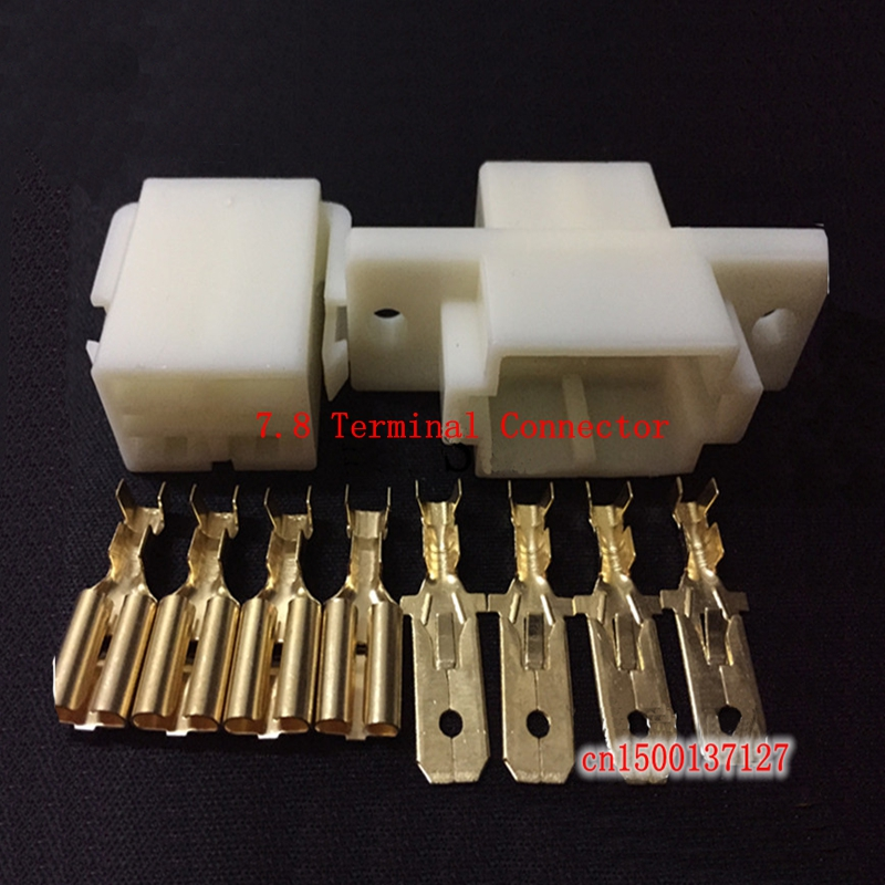 1sets/lot 7.8 automobile connector  4P connector  4 core male and female butt plug  electric vehicle  motorcycle terminal 100pcs lot 4 8 male and female insulated terminal insert the plug sheathed wire terminal connector 0 2 1mm2