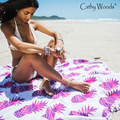 Toalla de playa redondo mujeres piña impreso hippie mandala bikini toalla de playa cubre sube beachwear pareo chal toalla de baño estera de yoga