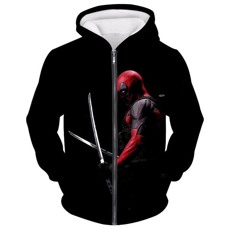 Cloudstyle 2019 3D Printed Deadpool Black Men 39 s Zipper Hoodies Comic Super Hero Zipper Hooded Hoodies Streetwear Hoodie Men 5XL in Hoodies amp Sweatshirts from Men 39 s Clothing