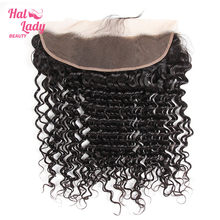 Halo Lady Beauty Peruvian Deep Wave 13x4 oreja a oreja parte libre cierre frontal de malla extensión de cabello humano no Remy Color Natural(China)