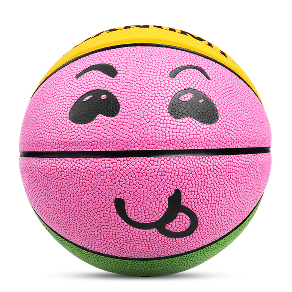 Kuangmi Kids Basketball Sports Fun Game Ball Children Baby Toy Smiling Face Basketball Standard Size 3 4 5 for training purpose