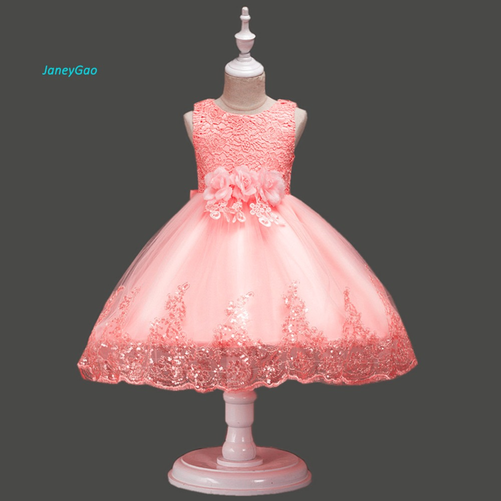 JaneyGao   Flower     Girl     Dresses   For Wedding Party Elegant Little   Girl   Formal Gown With Appliques Lace And Bow Princess   Dresses   2019