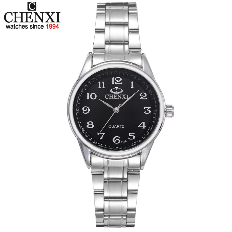 CHENXI Brand Women Watch Black and White Dial Stainless Steel Quartz Watches Simple Gift Female Clock Garments Wristwatch