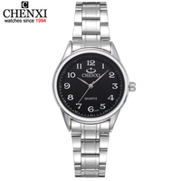 CHENXI ブランドの女性の腕時計黒とホワイトダイヤルステンレス鋼腕時計ギフト女性時計衣服腕時計