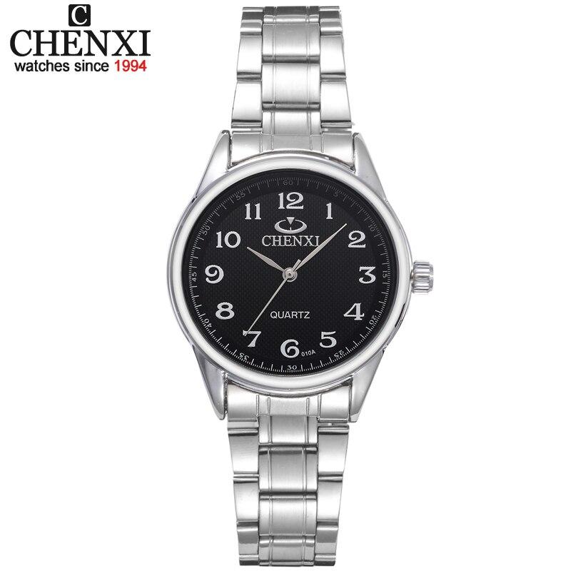 Prix pour CHENXI Marque Femmes Montre Noir et Blanc Cadran En Acier Inoxydable Quartz Montres Simple Cadeau Femme Horloge Vêtements Montre-Bracelet