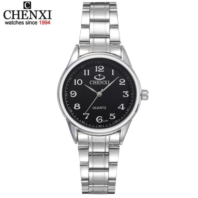 25d2b28546d Chenxi marca mulheres relógio preto e branco dial relógio de pulso de aço  inoxidável relógios de