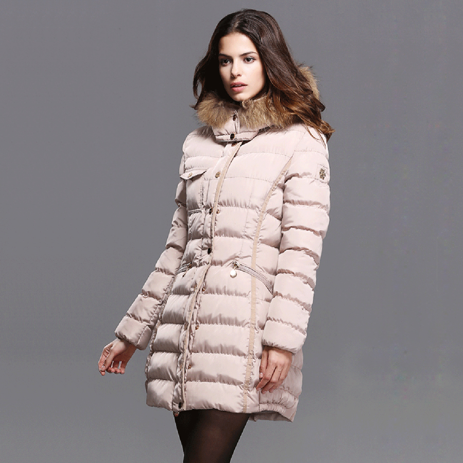 2016 Winter New Arrival Women s Fashion Slim Long Section Thick Pure Color Hooded With Fur