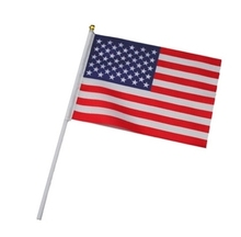 12 pieces a dozen of the United States of America hand flags U.S.A National flags with plastic flagpoles