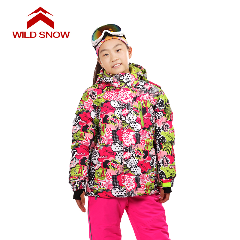 Wild snow Children Outerwear Warm Coat Sporty Ski Suit Kids Clothes Waterproof Windproof Boys Girls Jackets For 7-16T gsou sfor 30 degree warm coat sporty ski suit waterproof windproof girls jackets kids clothes sets children outerwear for 3 16t