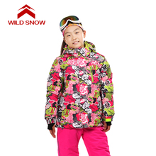 цена на Wild snow Children Outerwear Warm Coat Sporty Ski Suit Kids Clothes Waterproof Windproof Boys Girls Jackets For 7-16T