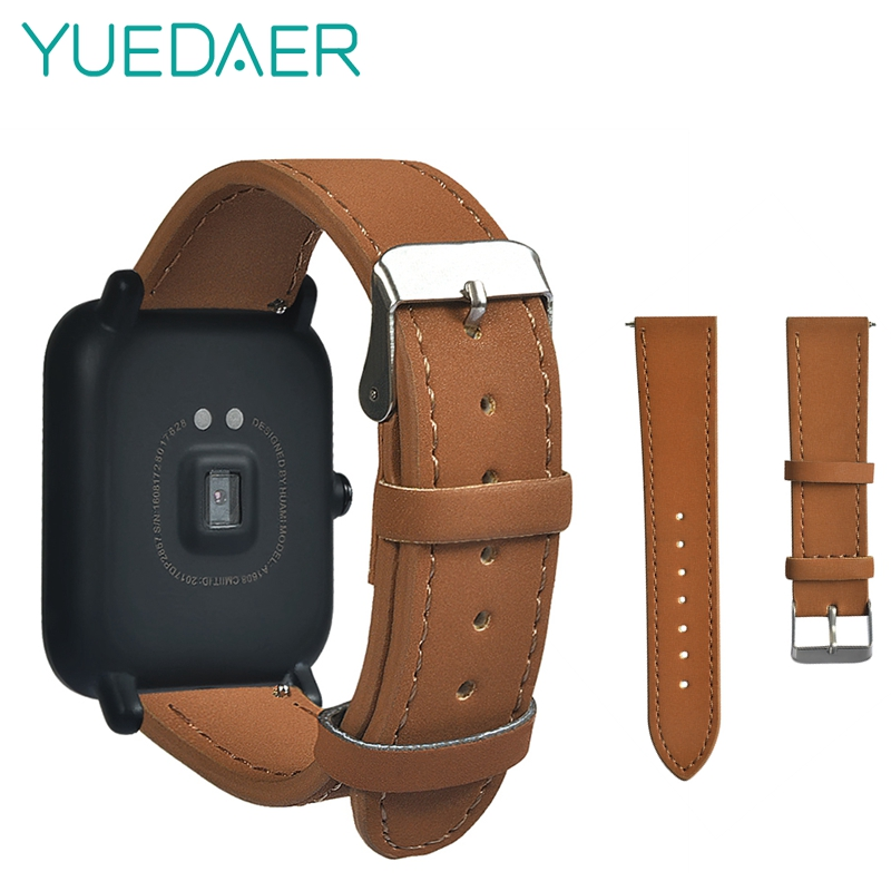 20mm Leather Watch Straps For Xiaomi Amazfit Bip Bit PACE Lite Youth Edition Smart Watch Band Replacements relogio inteligente