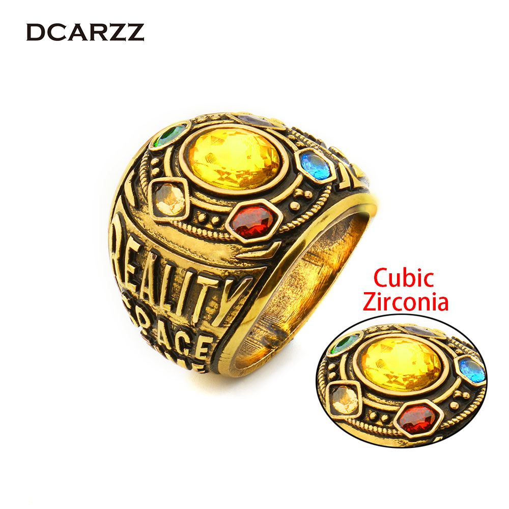 Avengers Infinity War Thanos CZ Stones Ring Power Mind Soul Reality Space Time Letter Ring for