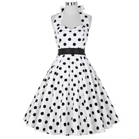 2014 Grace Karin Polka Dot Swing 50s Housewife Pinup Dress Vintage Rockabilly EVENING Dress Gown XS