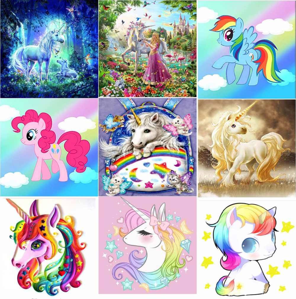 5D DIY Princess Pony Unicorn Diamond Painting Stitch Diamond Embroidery Cartoon Diamond Mosaic Picture Rhinestones Gift