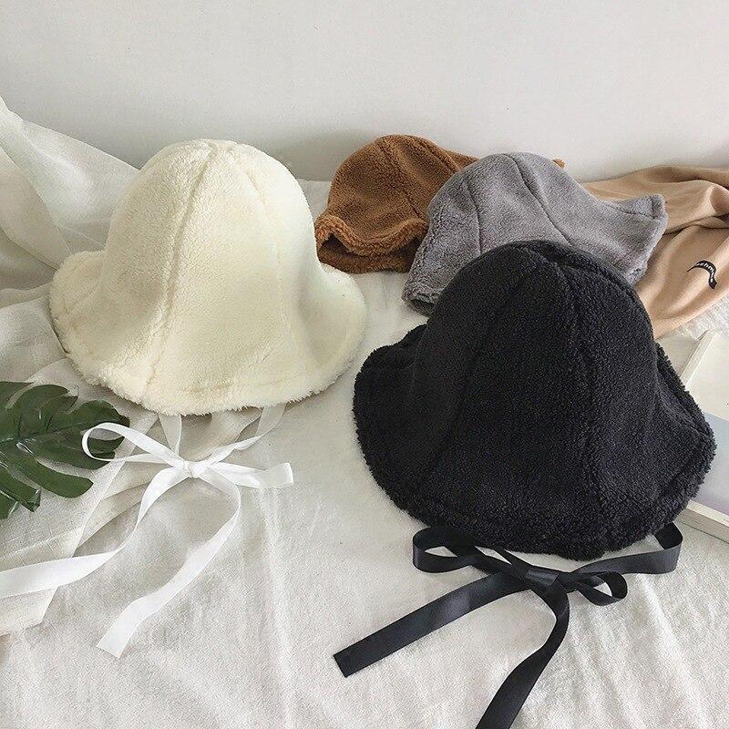 Eimer-hüte Bescheiden 2018 Winter Warme Frauen Eimer Hut Chic Silk Band Bowknot Caps Fischer Panama Hohe Qualität Polyester Sherpa Hüte QualitäT Zuerst