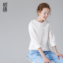 Toyouth Women Cotton Shirts 2017 White Solid Color Loose O-Neck Collar Three Quarter Sleeve Casual Shirts All Match camisa Tops