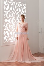free shipping 2014 hot sale new design custom color/size crystal with jacket small train evening gown pink chiffon dress