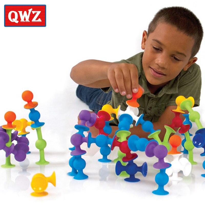 QWZ 33-72 PCS DIY Blocos de Construção Montado Otário Ventosa de Silicone Engraçado Brinquedos de Construção Crianças Brinquedos Educativos Presentes