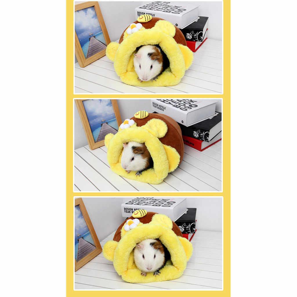 Transer Pet Hamster doux chaud éponge jaune nid chenil lit Cave maison sac de couchage tapis Pad tente 18 Dec24 p45