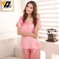 Women Silk Satin Pyjamas Loungewear Set Lace Calf-length Pants Plus Size Sleepwear Night Suit Female 4 Colors