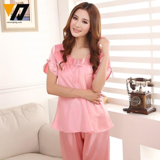 Women Silk Satin Pyjamas Loungewear Set Lace Calf-length Pants Plus Size Sleepwear Night Suit Female 4 Colors